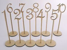 MDF Wooden Shape Table Numbers Stick 1-20 with Base French Font Wedding Birthday