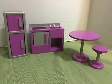 GORGEOUS Kidkraft Wooden Barbie Doll Furniture Kitchen Appliances Table Stool