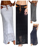 Ladies Maxi Skirt Long Womens Gypsy Jersey Lace Summer Party Size 8 10 12 14