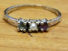 Vintage 10k solid white gold pearl aquamarine amethyst ring