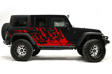 Vinyl Decal Mud Burst Wrap Kit for Jeep Wrangler Rubicon 2007-2016 Dark Red