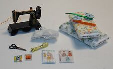 Dollhouse Miniature Sewing Machine & Fabric Bolt Set #3 1:12 One Inch Scale D46