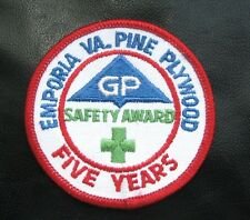 GEORGIA PACIFIC SAFETY AWARD EMBROIDERED SEW ON PATCH EMPORIA VA PINE PLYWOOD