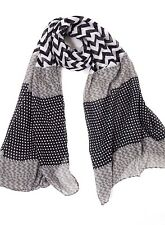 B30 Mixed Media Black White Gray Chevron Square Dot Wrap Shawl Scarf Boutique