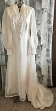 Vintage 1950s Wedding Bridal Gown Dress Ivory Long Sleeve Size Small