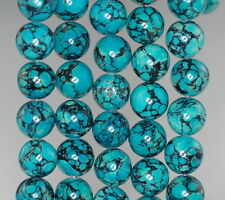 14MM BLUE TURQUOISE GEMSTONE BLUE GREEN ROUND 14MM LOOSE BEADS 16""