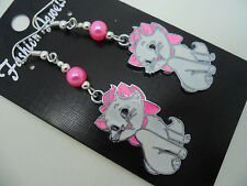 A PAIR OF DANGLY ENAMEL PINK/WHITE CAT  & PINK BEAD EARRINGS. NEW.
