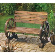 Rustic Wagon Wheel Garden Seating Outdoor Patio Porch Lawn Seats Two Bench