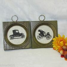 WALL PLAQUES VINTAGE PRINTED LINEN SIHLOUETTES CLASSIC CAR WOOD FRAME AUTO