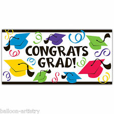 1.65m Multicolour Caps Hats Congrats Graduation Party Large Banner Decoration