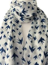 White Scarf Navy Blue Bird Print Cotton Wrap Fair Trade Birds Shawl Swallows New