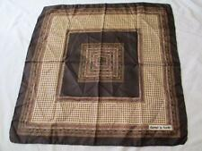 "DANIEL LA FORET Silk 26"" Square Scarf Vintage Brown GOLD tan ivory green COPPER"