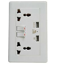 Wall Socket USB Plug Double Power Outlet 13 Amp Charger Electric Port Universal