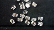 10 x 8mm Bianco Zirconi Emerald Cut Loose Gemstone AAAAA lotto di 2 pietre
