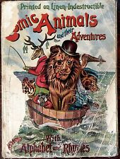 COMIC ANIMALS & THEIR ADVENTURES ~ Antique Linen Cloth Book Color Plates