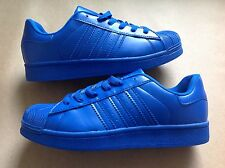 Mens Sports Superstar Style Trainers Gym Running triple blue size 9 UK