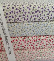 DITSY FLORAL 100% Cotton fabric, Sewing, Craft, PURPLE, BLUE, RED &  PINK