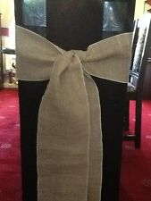 25 QUALITY HESSIAN BURLAP VINTAGE CHAIR SASHES TO BUY Overlocked In White Cotton
