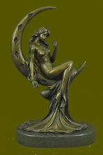 Classic Moreau Art Female Figure Nude Bookend Bronze Marble Statue Sculpture NR