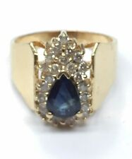 Vintage 14K Yellow Gold Pear Blue Sapphire & Diamond Cluster Cocktail Ring S 7.5