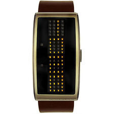 GIORDANO 1223-04 ORANGE LED BLACK DIAL BRONZE CASE BROWN LEATHER BAND WATCH MEN