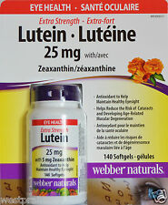 Webber Naturals Extra Strength Lutein 25mg w/ Zeaxanthin Eye Health 140 Softgels