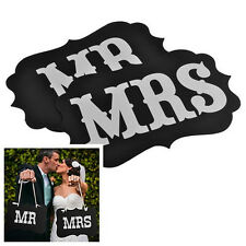 """MR & MRS"" Photo Booth Prop Wedding Party Black Card Photography Props DIY 1Set"