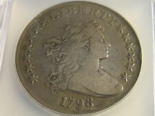 1798 Close Date Draped Bust Heraldic Eagle Reverse Silver Dollar F-15 Very Rare