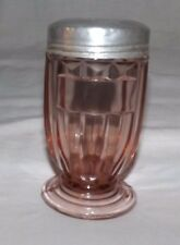"Vintage Pink Depression Glass 4 5/8"" Condiment SHAKER with Metal Lid"