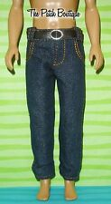 "12"" BOY DOLL MATTEL KEN / DISNEY PRINCE SIZE REPLACEMENT PAIR BELTED JEANS ONLY"