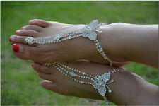Bridal Barefoot Sandals Luxury Rhinestone Wedding foot Shoes Butterfly New Beach