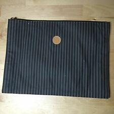 FENDI Skinny Striped Brown Tan Leather Gold Trim Clutch 90's Portfolio Barneys