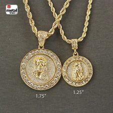 14k Gold Plated Two Medallio Mini Jesus Pendant Combo Rope Necklace (HCD10)