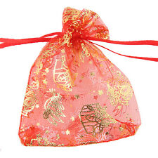 50x Wholesale Christmas Red Drawstring Organza Wedding Pouch Gift Bags 7x9 cm J