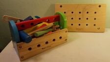 Children's Wooden Tool Box w/Wooden Tools and Accessories