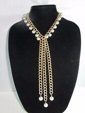 """Vintage Park Lane Gold Tone Dangle Faux Pearl Tassel Drop Necklace 16 """""""