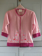 NEW Vintage Style NEXT Pink Lambswool Angora Beaded Embroidery Cardigan Top UK 8