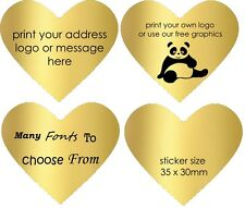 Gold Heart Wedding stickers invitation Personalised Labels Seals customised 50
