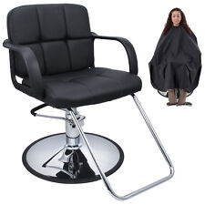 Cutting Hair Cape w/ Hydraulic Barber Chair Salon Beauty Spa Styling Black Seat