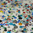 MIXED Colors Sizes Flatback Rhinestones Crystal Glass Nail Art Silver 50g 1700ps