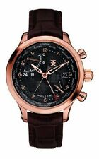 Timex TX Luxury Unisex World Time Airport Lounge Rose Gold SS Case Brown Watch