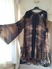 CHRISTMAS TAN BLACK LACE FLARE ARM LEOPARD PRINT SMOCK DRESS SIZE 18/20 BNWT