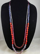 Kenneth Cole Silvertone Mixed Berry Beaded Cord Long Multi Strand Necklace $48