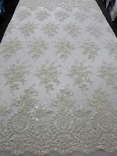 "Off-White Bridal Mesh w/ Embroidery Beaded Lace Fabric - 50"" - Sold by the yard"