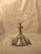 800 Silver Antique Centerpiece Crystal Bowl Animal Hoof Foot WH Austria Hungary