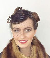 VINTAGE CHOCOLATE BROWN VEIL FEATHERS HAT FASCINATOR 40s 50s RETRO WEDDING RACES