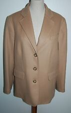 New L.L. Bean Women's Wool/Cashmere Blazer 3 Button Jacket Camel/Tan Size 14-Reg