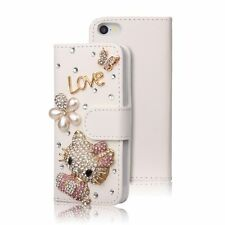 Luxury Bling Diamond Rhinestone Hello Kitty Card Stand Leather Wallet Case Cover