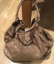 Rise-on LOUIS VUITTON MONOGRAM LIGHT BROWN LEATHER MAHINA SHOULDER BAG