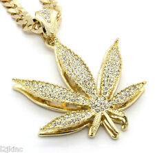 "Mens 14k Gold Plated 30""  Cuban Chain Marijuana Pendant Necklace"